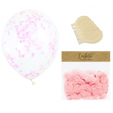 Clear Balloons with Light Pink Confetti  ( Balloons - 6pcs + 15g confetti)
