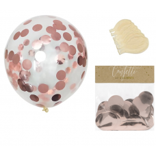 Clear Balloons with Rose Gold Confetti  ( Balloons - 6pcs + 15g confetti)