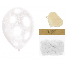 Clear Balloons with White Confetti  ( Balloons - 6pcs + 15g confetti)