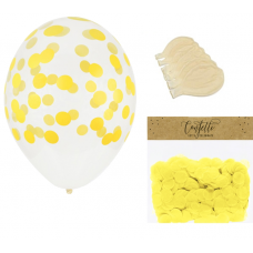 Clear Balloons with Yellow Confetti  ( Balloons - 6pcs + 15g confetti)