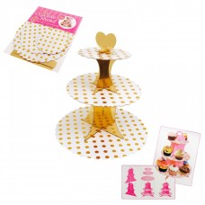 Cupcake Stand - 3 tier - golden dots