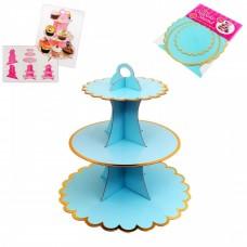 Cupcake Stand - 3 tier - light blue with metallic golden edges