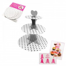 Cupcake Stand - 3 tier - silver dots