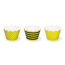 Cupcake wrappers bees, mix, 5 x 7.5 x 5cm (1 pkt / 6 pc.)