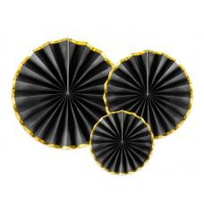 Decorative Rosettes, black (1 pack 3 pc. 40 cm, 32 cm, and 23 cm.)