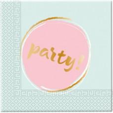"""Napkins mint and pink """"PARTY"""" Elegant 33cm x 33cm -20pcs"""