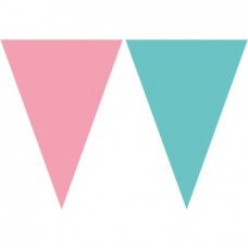 Plastic Bunting pink and mint - 15см/1,9м.