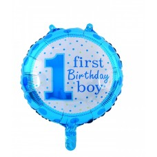 "Round foil Balloon ""First Birthday Boy"" 43cm"