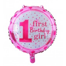 "Round foil Balloon ""First Birthday Girl"" 43cm"