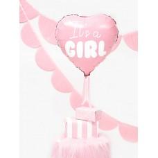 Foil Balloon Heart - It's a girl, 45cm, light pink