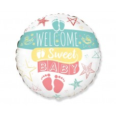 """Foil balloon 18"""" FX - Welcome Sweet Baby (RND)"""