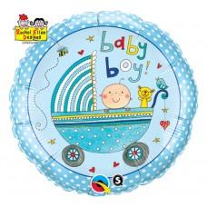 "Foil balloon 18 ""QL CIR"" Baby Boy (blue stroller) """