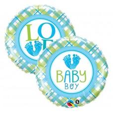 """Foil balloon 18"""" QL CIR """"Baby Boy Lo(FEET)e"""""""