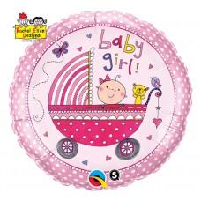 "Foil balloon 18 ""QL CIR"" Baby Girl (pink stroller) """