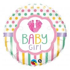 """Foil balloon 18"""" QL CIR """"Baby Girl Lo(FEET)e"""""""