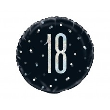 "Foil balloon UQ 18"" Glitz, dots with overprint 18, black"