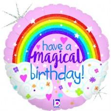 Glitter Magical Rainbow Birthday Holog. 45cm Single Pack