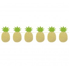Glitter garland Pineapple - green leaves, size 10.5x20x250 cm