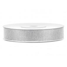 Glitter ribbon, silver, 10mm/25m