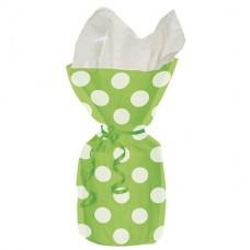 Green Polka Dots Cello Party Bags 28cm x 12cm - 20pcs