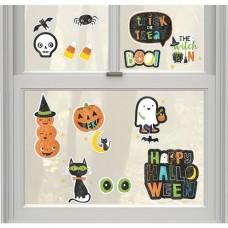 Halloween Friends Glitter Window Decorations 17pcs
