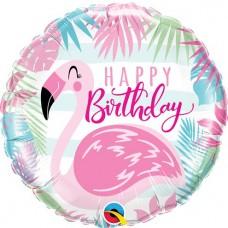 "Happy Birthday Pink Flamingo Foil Balloon - 18"" Balloon"