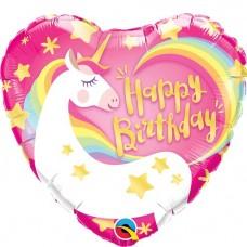 Happy Birthday Unicorn Heart Foil Balloon - 45cm Balloon