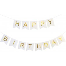 Banner Happy Birthday. white with golden letters, 15cm x 175cm
