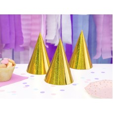 Holographic party hats, gold, 15cm (1 pack / 6 pc.)
