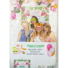 Party set with 31 pcs - Flamingo
