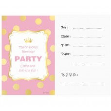 "Invitations with envelope ""Gold dots"", pink, 6 pcs"