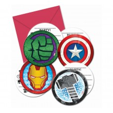 Invitations with envelopes Mighty Avengers, 6 Pcs