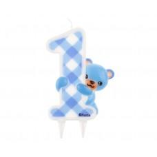 "Jumbo candle ""Blue Teddy"", digit 1"