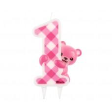 """Jumbo candle """"Pink Teddy"""", digit 1"""
