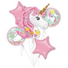 Magical Unicorn Balloon Bouquet - Assorted Foil - 5pcs