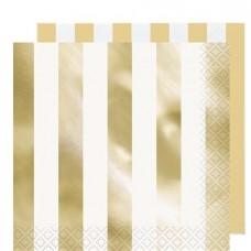 Metallic Gold Stripe Paper Napkins - 33cm x 33cm - 16pcs