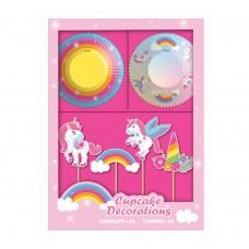 Muffin deco set Rainbow Unicorn