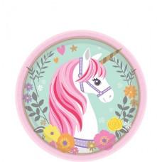 8 Magical Unicorn Dessert Paper Plates - 18cm
