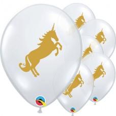 "Golden Unicorn Diamond Clear Latex Balloons - 11"" Latex 28cm - 5 units"