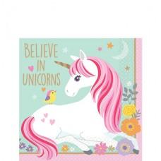 16 Magical Unicorn Paper Beverage Napkins - 25cm