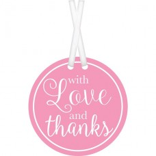 25 New Pink With Love & Thanks Tags