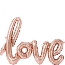 "1 Rose Gold Love Foil Balloon - 30"" - 76cm"