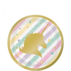 8 Unicorn Sparkle Plates - 18cm Paper Party Plates