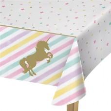 Unicorn Sparkle Plastic Tablecover - 1.3m x 2.6m