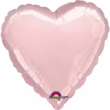 Standard Metallic Pearl Pastel Pink Foil Balloon Heart, S15, packed, 43cm