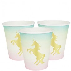 8 We Heart Unicorn Cups with Foil Detail - 250ml Paper Cups