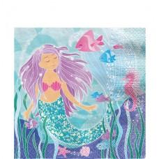 16 Magical Mermaid Paper Napkins - 33cm