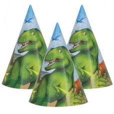 Dinosaur Adventure Party Hats - 8pcs