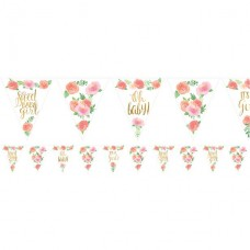 Floral Baby Paper Bunting - 4.6m 24 pennants