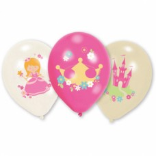 6 Latex Balloons Princess 27.5 cm/11""